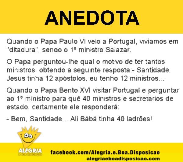 Anedota quando o papa veio a portugal